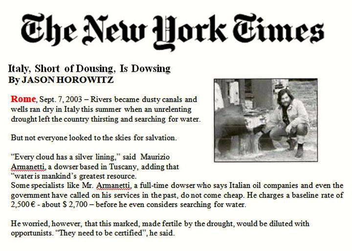 Rabdomante Maurizio Armanetti sul New York Times