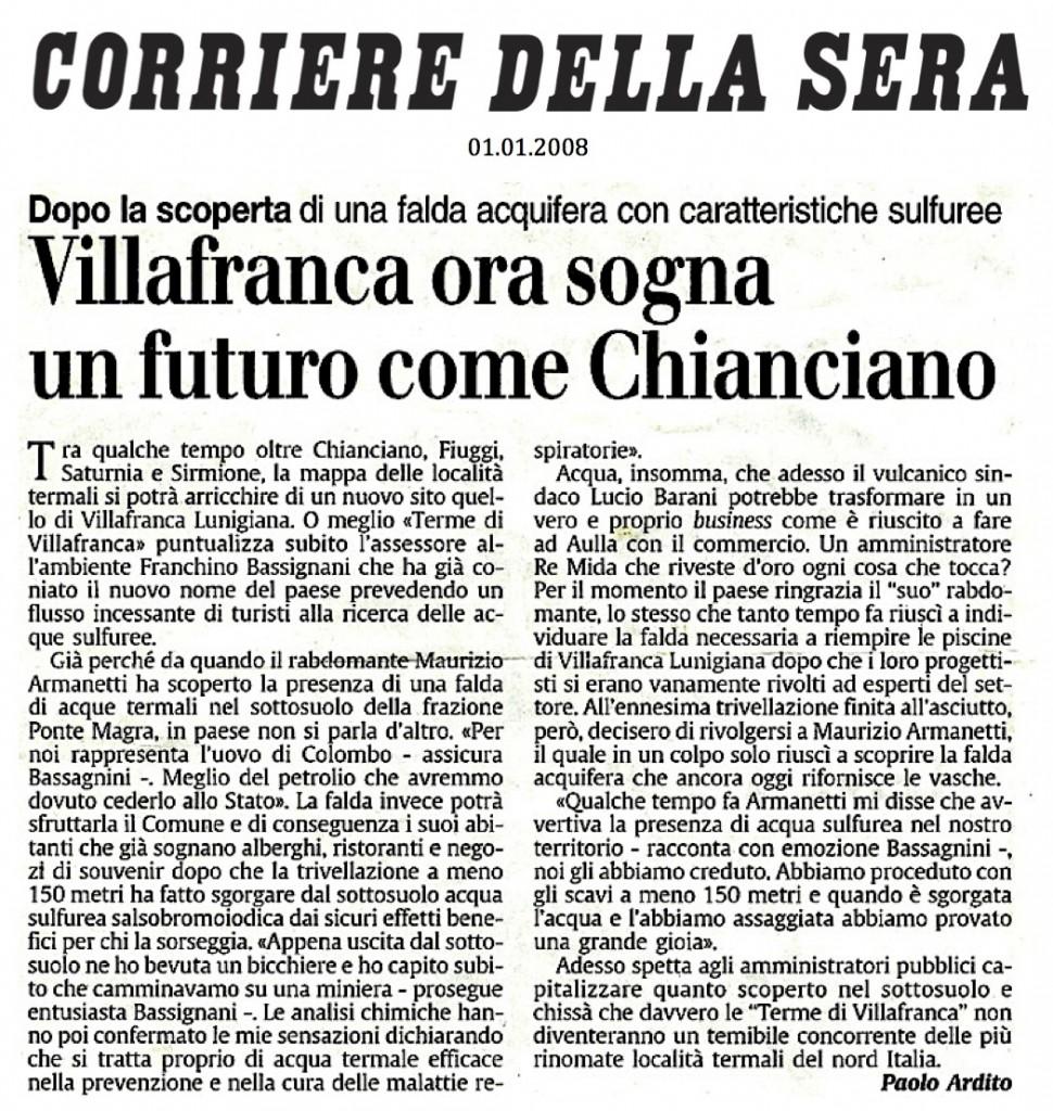 Stampa - Corriere della Sera - Acqua Termale - Maurizio Armanetti - Rabdomanzia