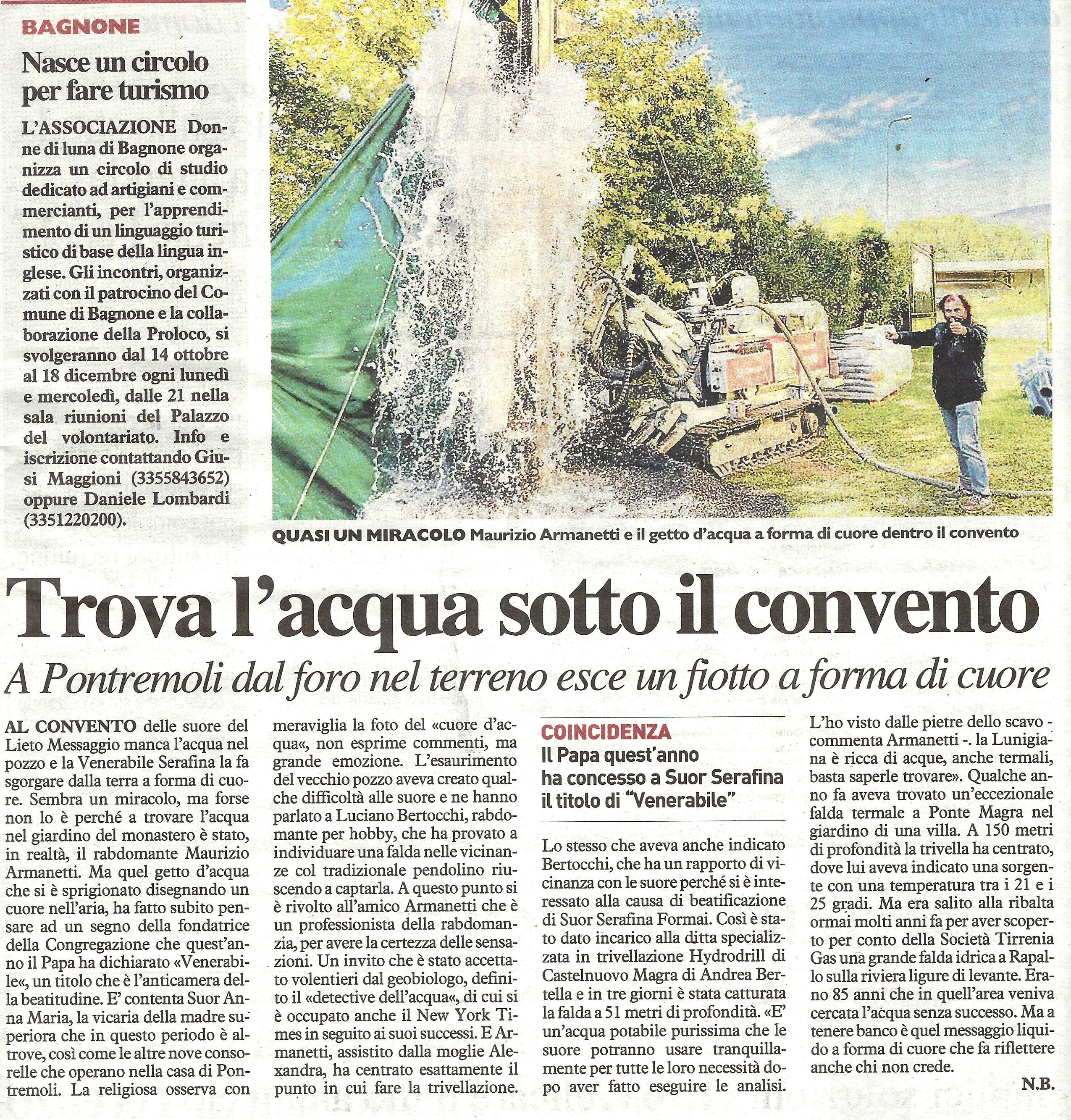 """Articolo La Nazione """"Trova l'acqua sotto il convento"""""""