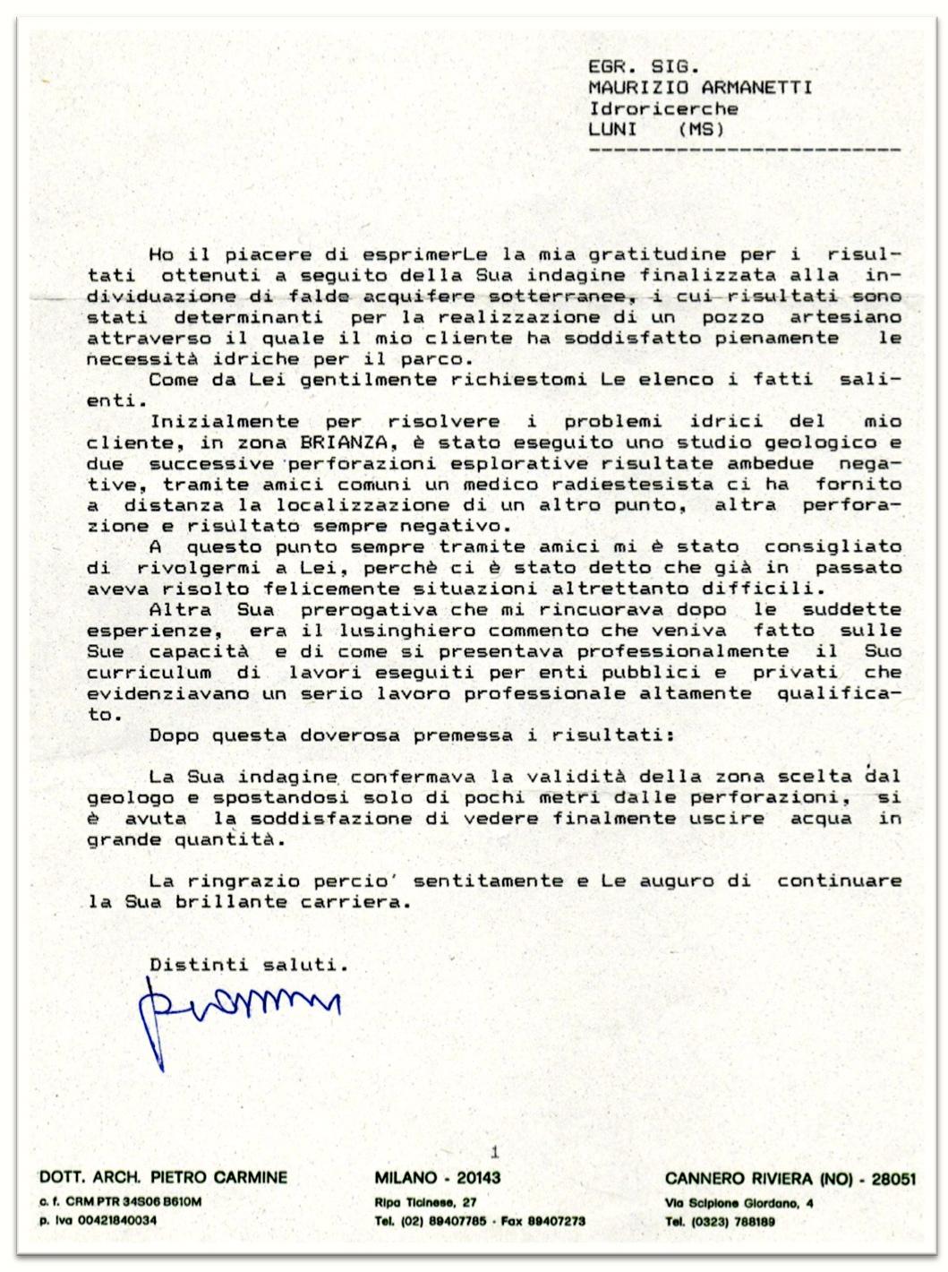 Testimonianze - Lettera di ringraziamento al Rabdomante Maurizio Armanetti