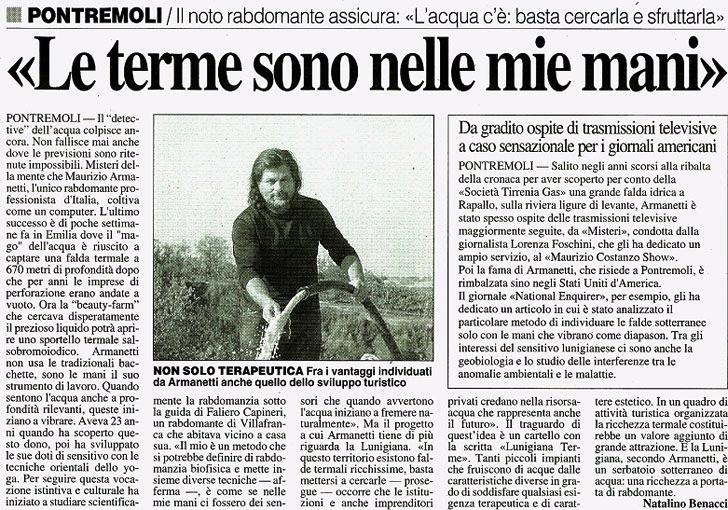 Stampa - Le Terme sono nelle mie mani - Maurizio Armanetti - Rabdomante