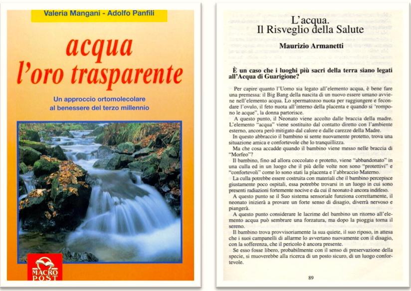 """Capitolo di Maurizio Armanetti nel libro """"acqua l'oro trasparente"""""""